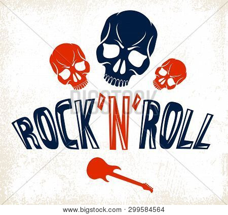 Skull In Hard Rock Music Vector Logo Or Emblem, Aggressive Skull Dead Head Rock And Roll Label, Punk
