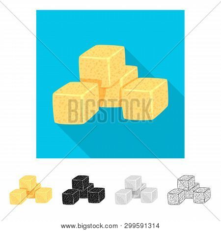 Vector Design Of Croutons  And Bread Sign. Collection Of Croutons  And Bowl  Stock Vector Illustrati