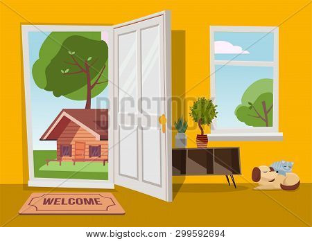 Open Door Into Summer Country Landscape View With Green Trees. Flat Cartoon Vector Illustration. Tre