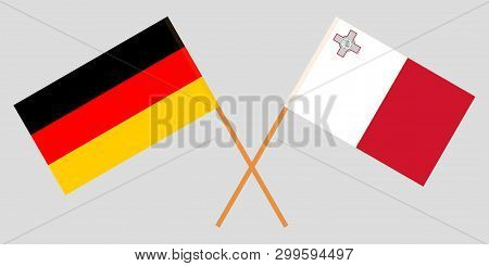 Malta And Germany. The Maltese And German Flags. Official Colors. Correct Proportion. Vector Illustr