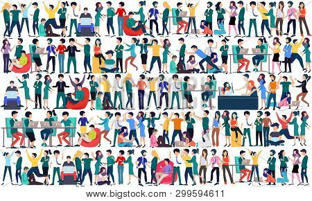 Large Group Of Business People Background. Business People In Different Positions, Teamwork Concept.
