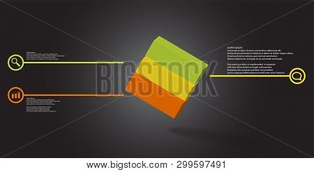 3D Illustration Infographic Template With Embossed Cube Askew Arranged Divided To Three Parts