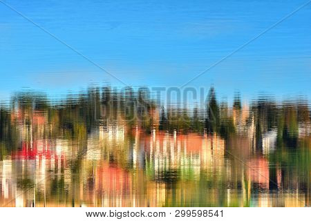 Abstract Landscape;  Refections On Water , Light And Colors