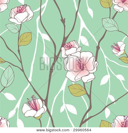 Seamless pattern with styled spring blossoms