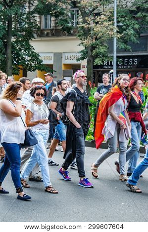 Prague, Czech Republic, August 12, 2017 : Prague Pride March, Lgbt Community And Supporters Of The M