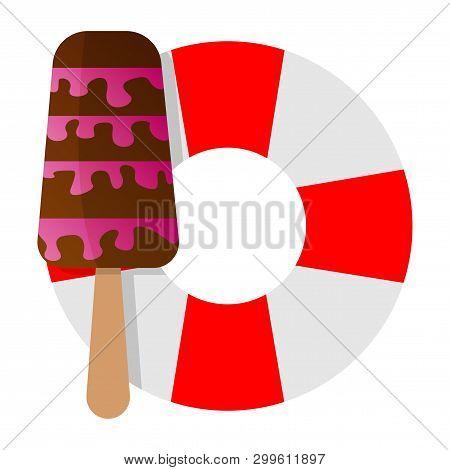 Lifebuoy Icon With Icecream Vector, Illustration, Lifebuoy, Lifesaver, Preserver,