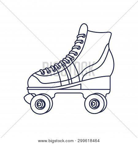 Skate Rollers Ninetys Icon Vector Illustration Design
