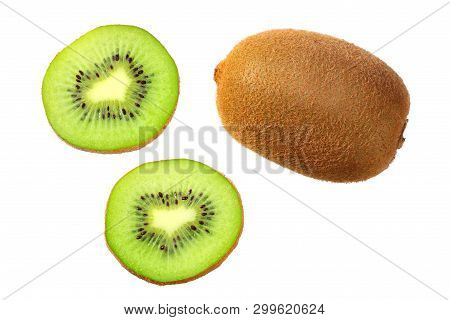 Slices Kiwi Fruit Isolated On White Background . Top View