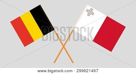 Malta And Belgium. The Maltese And  Belgian Flags. Official Colors. Correct Proportion. Vector Illus