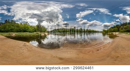 Full Seamless Spherical Panorama 360 Degrees Angle View On The Shore Of Wide River Neman With Beauti