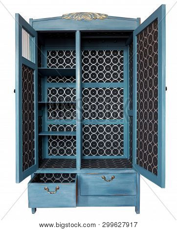 Vintage Wardrobe, Old Furniture. Shabby Style Interior, Furniture From Rustic Chalk Paint. Handmade