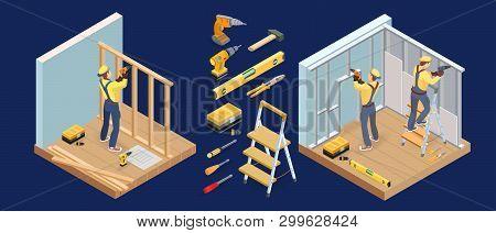 Building Services. Isometric Interior Repairs Concept. Carpenter, Tools. Vector.
