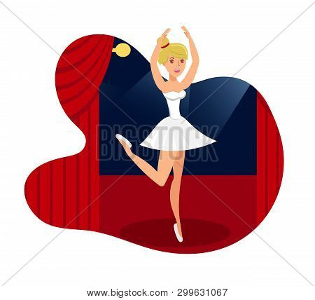 Stage Performance, Show Flat Vector Illustration. Ballet Celebrity In Pointe Shoes Isolated Cartoon
