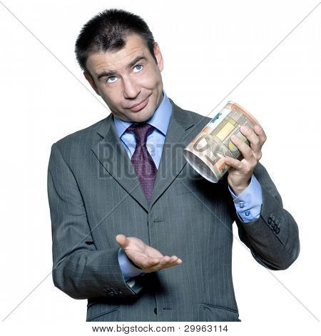 Portrait of sullen  businessman with an empty  money box  in studio on isolated white background