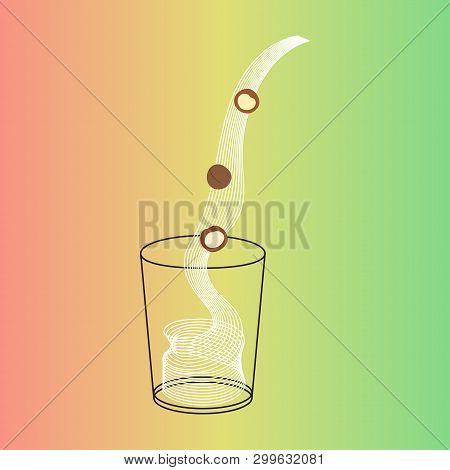Vector Glass Of Cashew Milk With Nuts. Vegan Alternative Organic Milk Splash Pour In Glass. Non Dair