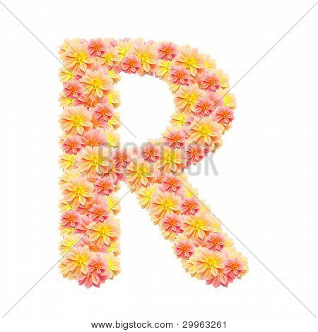 R,flower Alphabet Isolated On White