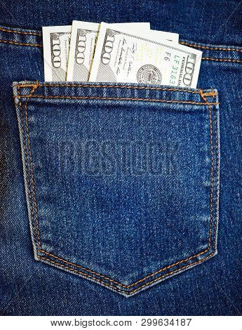Stock Photo Cash Money In Us Dollar Currency And In The Denim Blue Jeans Back Pocket Concept Of Mone