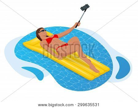 Inflatable Ring And Mattress. Young Woman In Bikini On The Yellow Air Mattress In The Big Swimming P