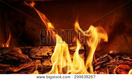 Burning Billets In Fireplace