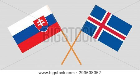 Iceland And Slovakia. The Icelandic And Slovakian Flags. Official Colors. Correct Proportion. Vector