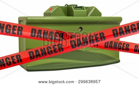 Danger Caution Barrier Tapes With Anti-personnel Mine, 3d Rendering Isolated On White Background