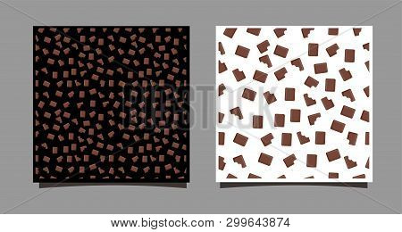 A Piece Of Chocolate. Seamless Pattern Of Whole And Bitten Chocolates On A Black And White Backgroun