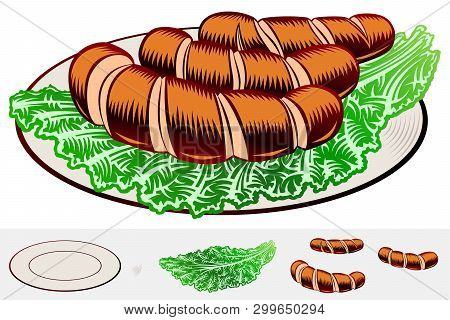Grilled Incised Sausages With Leaf Lettuce On A Plate. Traditional Bavarian Beer Snack In Restaurant