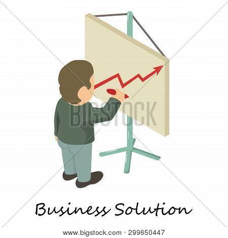 Business Solution Icon. Isometric Illustration Of Business Solution Icon For Web