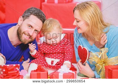 Day to celebrate their love. Family celebrate anniversary. Couple in love and baby girl. Valentines day concept. Together on valentines day. Lovely family celebrating valentines day. Happy parents poster