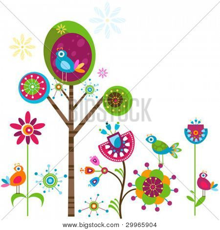 whimsy flower tree and birds