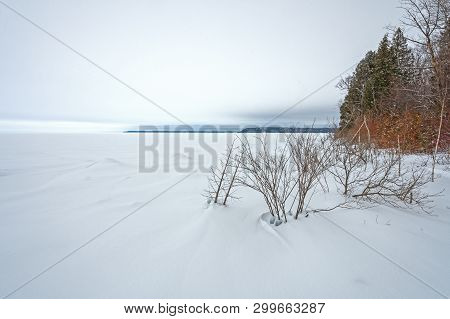 Frozen Lakeshore Panorama In Winter On Lake Michigan In Peninsula State Park In Wisconsin