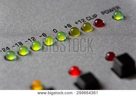 Led Level Meter With Graduation In Decibels, Closeup