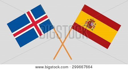 Iceland And Spain. The Icelandic And Spanish Flags. Official Colors. Correct Proportion. Vector Illu