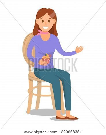 Model With Brown Hair Flat Character Illustration. Young Caucasian Woman Sitting On Chair With Backr