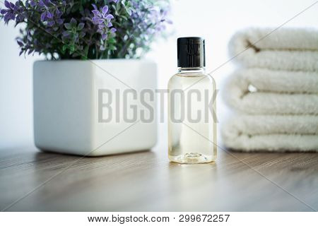 Spa. White Cotton Towels Use In Spa Bathroom. Towel Concept. Photo For Hotels And Massage Parlors. P