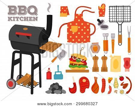 Barbecue Grill Cartoon Elements Set. Cookout Bbq Icons, Party Bbq Objects. Set With Tools, Cutlery,