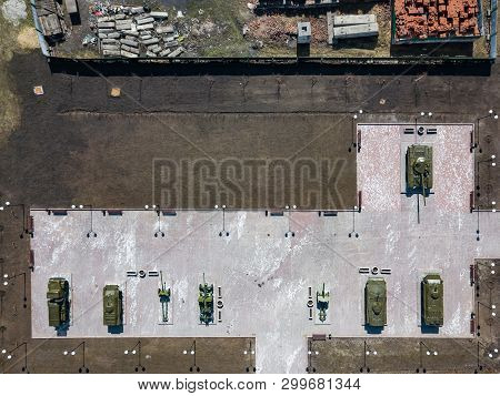 Top View Of The Park With Monuments And Monuments Consisting Of Tanks, Cannons And Armored Personnel