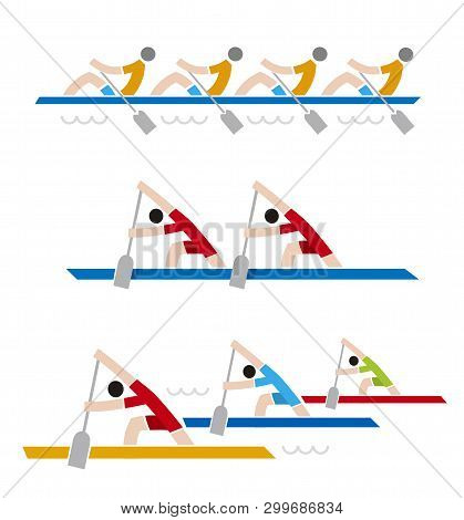 Rowing Race Colorful Icons. Three Simple Illustrations Of Sport Rowers.vector Available.