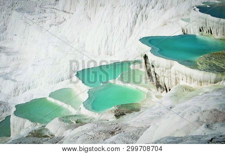View Of Beauty Of Pamukkale Pool In Turkey