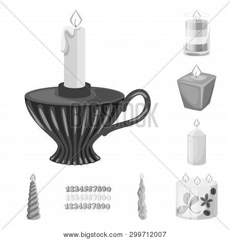 Vector Illustration Of Paraffin And Fire  Logo. Set Of Paraffin And Decoration    Vector Icon For St