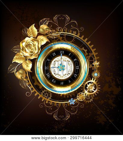 Gold Clock, Decorated With Gold, And Gold Jewelry Rose Gears. Steampunk Style.