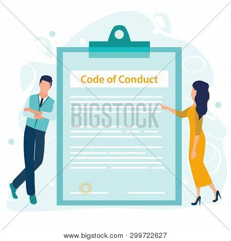 Code Of Conduct. Business Ethics. Business Man And Woman Looking On A Document On A Clipboard Paper.