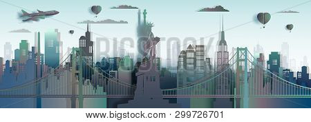 Travel America New York City Liberty Statue Landmark In Manhattan, Tourism Usa Famous Landmarks Skys