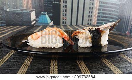 Nigiri Sushi Concept - Eel Nigiri And Shrimp Nigiri. Japanese Traditional Food - Unagi Nigiri And Eb