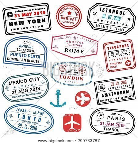 Passport Stamp Set - Novelty Vector Passport Stamps Collection.