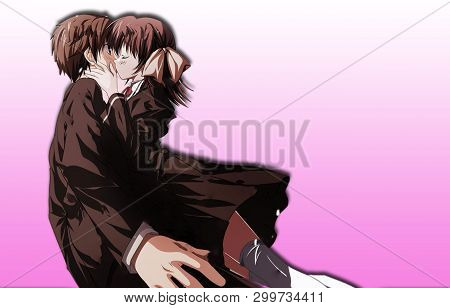 Anime Boy And Girl Kissing Each Other