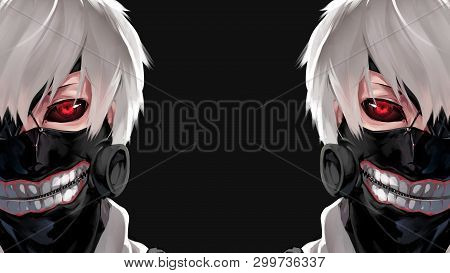 Anime Boy With Mask On Face And White Hair