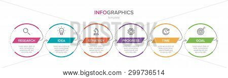 Infographic Design With Icons And 6 Options Or Steps. Thin Line Vector. Infographics Business Concep