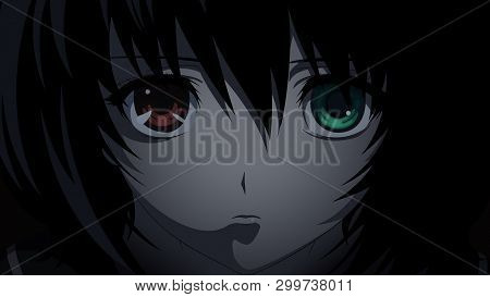 Anime Girl With Red And Green Eye