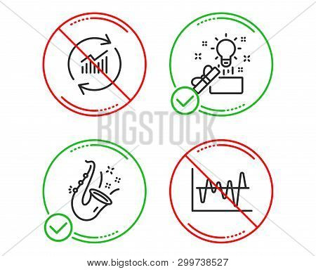 Do Or Stop. Creative Idea, Update Data And Jazz Icons Simple Set. Stock Analysis Sign. Present Box,